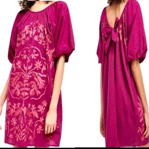 FREE PEOPLE FIONA EMBROIDERED DRESS BRIGHT PLUM